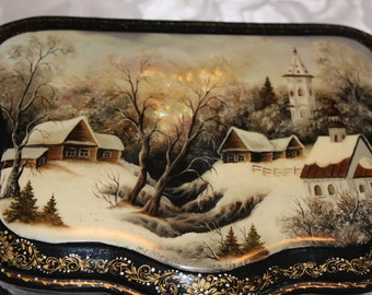 Russian Lacquer Box - Hand Painted Winter Scenery with Mother of Pearl