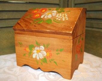 Hand Painted Wood Recipe Box