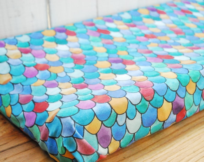 Organic Baby Bedding, Crib Sheet, Changing Pad Cover - Rainbow Scales, Watercolor Dragon, Mermaid, Fish Scales Bedding