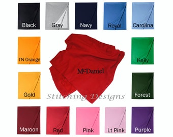 Monogram Sweatshirt Blanket, Stadium Blanket - 14 colors available