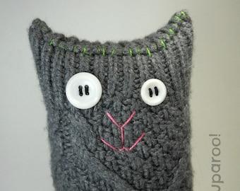 Gray Sweater Kitty Stuffed Cat, Upcycled Sweater Cat, Eco Friendly Stuffed Kitty