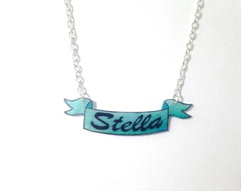 Custom Personalized Name Shrinky Dink Banner Necklace
