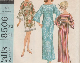 1966 sewing pattern McCall's 8506 misses robe size 14 bust 34