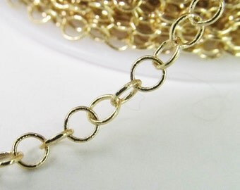2 Ft Gold Plated 3mm Brass Round Link Chain Ch17