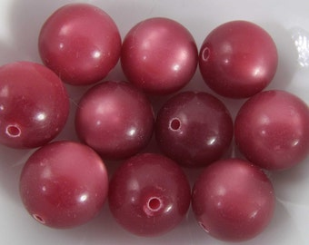 16 Vintage 14mm Antique Rose Pink Moonglow Lucite Beads Bd1875