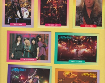 Lot of 7 Motley Crue trading cards Pub. 1991 Nikki Sixx Tommy Lee Vince Neil Mick Mars