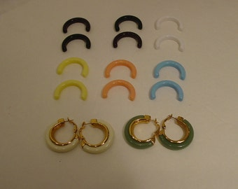 1970s - 8 Colors- Crown Trifari Interchangeable Clip Back Post Earrings