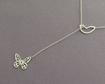 Butterfly Lariat Necklace - Sterling Silver Delicate Pendant Necklace - Wings Jewelry