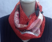 Vintage multicolour Kimono silk infinity scarf.    FREE SHIPPING WORLDWIDE