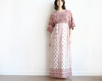 vintage cotton tieback long boho bell sleeve maxi dress