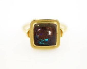 Australian Square Boulder Opal Ring in 14K Yellow Gold Blue Flash Boulder Opal Ring Fine Handmade Jewelry