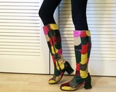 Vintage 70s Patchwork Leather Go Go Boots! Hippie Boho Glam Rock Star Knee High Chunky Heel Rocker Boots Multi Color Patches Size 8 - 9