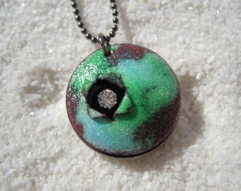 Blue and Green Rustic Enamel Necklace Artisan Jewelry