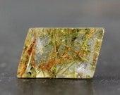 Green Rutilated Quartz Setting Gemstone, Natural Designer Jewely, String Necklace Center Piece Pinch Bail Finding Loose Gemstone