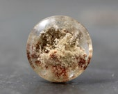 Circle, Coin Phantom Garden Quartz Lodolite Polished Gemstone Crystal Pendant Accessory Collection Natural Healing Jewelry Collectible