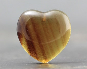 CLEARANCE Top Drilled Heart Shape Fossil Cabochon Tree Resin, Resinite Natural Amber South East Asia - Fossilized Jewelry, Bead (CA5184)