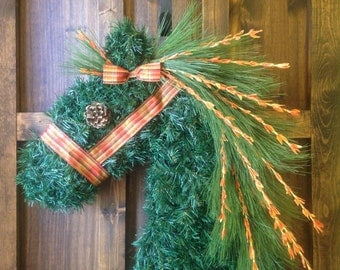 Sale - Fall Horse Head Wreath with Plaid Halter and Bow