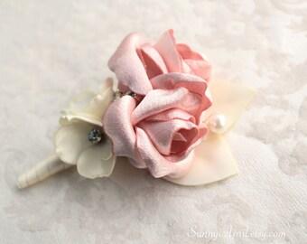 Rose Pink Blush Ivory Boutonniere/ Handmade Wedding Accessory