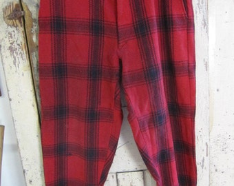Vintage Carters 50's Plaid Black and Red Wool Pants. Plaid Wool Men's Ski Pants. Wool Hunting Pants. Fishing pants. Dress up Pants