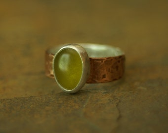 bimetal amber recycled glass relic ring US size 9