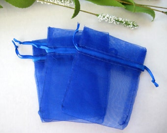 3 x 4 Royal Blue Organza Bags for Party Favors, Baby Shower Favors, Gift Bags, Saches, Wedding Favor, Jewelry, 10 pcs