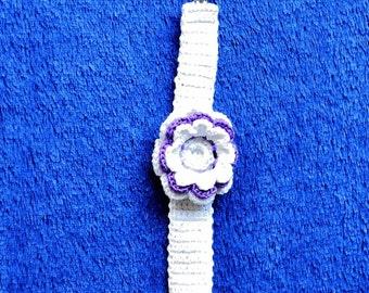 Purple and White Flower Bracelet
