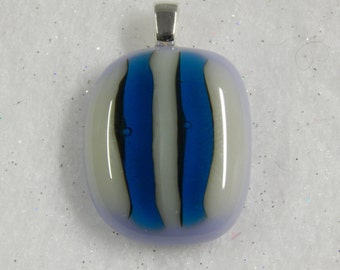 Fused Glass Pendant, Fused Glass Necklace, Fused Glass Striped Pendant, Fused Glass Jewelry