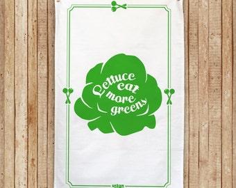 "Lettuce Tea Towel ""Lettuce eat more greens"" Cotton Tea Towel"