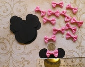Minnie Mouse Head Shapes Pink Polka Dot Ribbon Bows Die Cut pieces for crafts Cupcake Picks DIY Kids Crafts Birthday Party etc.
