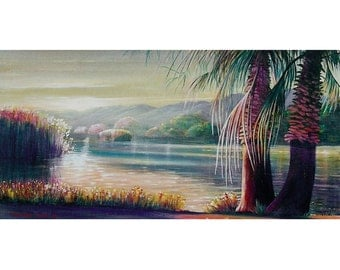 ORIGINAL PAINTING Modern Large 24X48 Seascape Palms Wall Art  by Thomas John