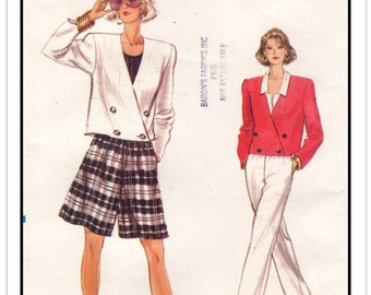 """VOGUE Pattern 7173 - Misses' """"Very Easy Very Vogue"""" Separates - Double-Breasted Jacket, Culotte Shorts, Pants - Sz 14-16-18 - Vintage 1980s"""