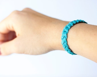 Braided Leather Bracelet / Tropical Waters