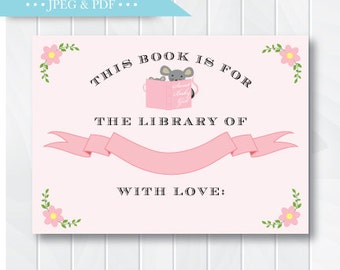 Pink Mouse Story Book Stock the Library Book Plate Sticker Label Girl, For the Library of, This Book Belongs to Sticker, INSTANT DOWNLOAD