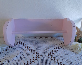 Pink Shabby Chic Heart Towel Rack Up Cycled Vintage Wood Paris French Country Farmhouse Romantic Cottage Victorian Girl Kitchen Home Decor