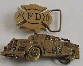 Vintage Belt Buckles, Fire Department,Fire Truck, Firemen, Solid Brass, Baron Buckle