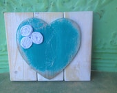 Shabby Chic White and Teal Heart Accent Sign, Gallery Wall Signage, Beach Colors Home Decor Heart Hanger