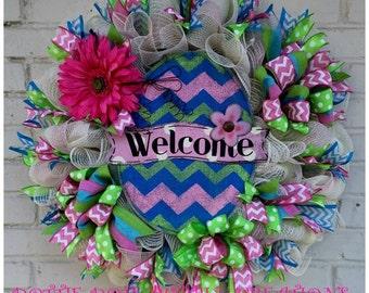 Welcome Burlap Easter Egg Cream Jute Mesh Wreath, Easter Wreath, Spring Wreath