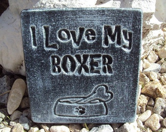 Boxer Dog, Handmade Engraved Stone Wall Hanging, Inside Outside