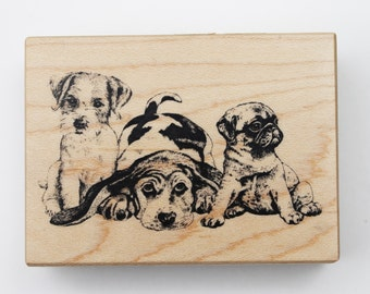 PSX Puppies rubber stamp F-860  Wood mounted terrier beagle pug RARE