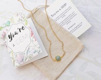 You're a Gem - Aventurine Delicate Modern Gemstone Necklace in Gold