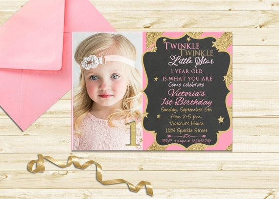 Twinkle Twinkle First Birthday Invitation - Little Star Birthday Invitation - Twinkle Little Star Printable 1st Birthday - Pink and Gold