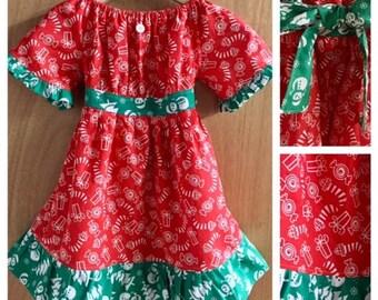 Christmas Boho Peasant/Prairie Dress, girls size 5
