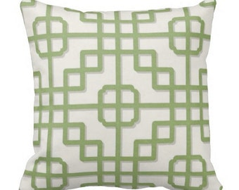 outdoor trellis pillows, green outdoor pillows, 18x18 inch outdoor pillows, outdoor pillow covers, trellis pillow cover, green white pillows