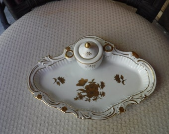 Vintage Inkwell tray and pen stand G-1230