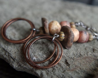 Rustic copper and handmade clay bead earrings - Gypsy boho earrings - brown, rust, bronze, vanilla, tan - earthy colors