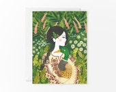 Girl and wild duck - greeting card