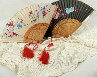 Two Vintage Occupied Japan Fans Silk and Bamboo Japanese Fan, Mother of Pearl, Red Tassle Cord, Painted Flowers and Metallic Gold