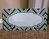 Black and Mint Chevron Frame BLANK metal license plate for personalization