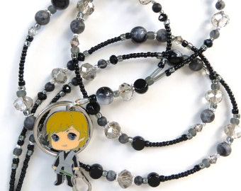 LUKE SKYWALKER- Beaded ID Lanyard Badge Holder- Sparkling Crystals and Marble and Glass Beads (Magnetic Clasp)