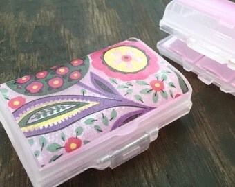 7 day pill organizer case 7 compartments DECOUPAGE plastic pill box pill container 7 day Weekly Pill Organizer PINK
